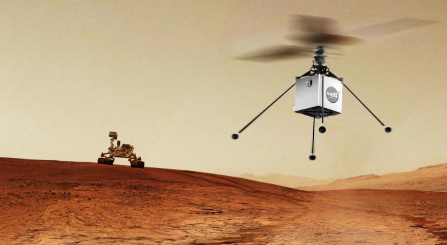 Вертолет поднялся над Марсом